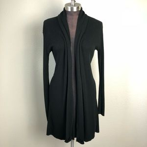 Express Black Ribbed Open Duster Long Cardigan